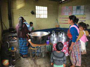 School kitchen in Bella Vista. Mothers take turns as volunteers preparing breakfast and a snack for the students at this school in a remote village.